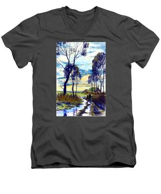 Walk On A Wet Road Men's V-Neck T-Shirt