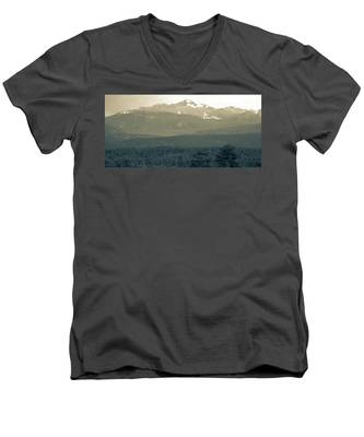 Men's V-Neck T-Shirt featuring the photograph panoramic view of Rocky Mountains by Kyle Lee