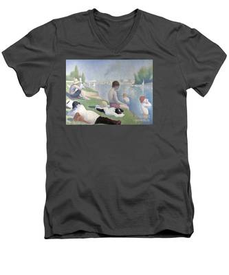 Bathers At Asnieres Men's V-Neck T-Shirt