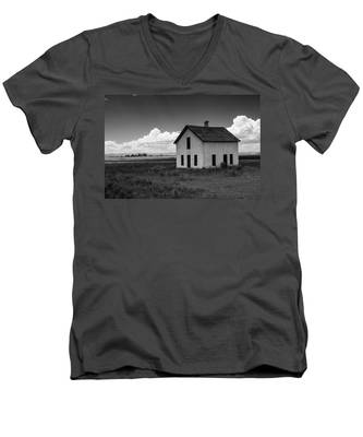 Men's V-Neck T-Shirt featuring the photograph Old Abandoned House In Farming Area by Kyle Lee