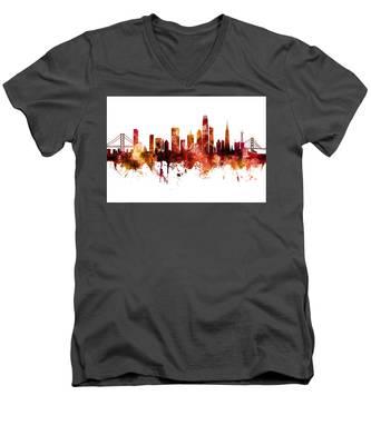San Francisco City Skyline Men's V-Neck T-Shirt