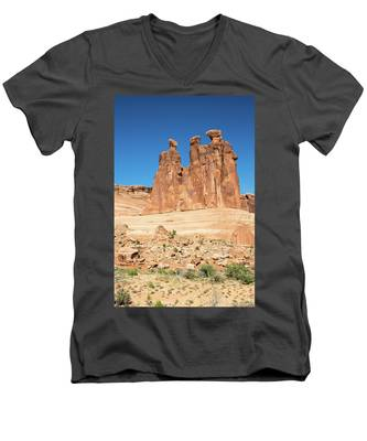 Men's V-Neck T-Shirt featuring the photograph Balanced Rocks In Arches by Kyle Lee