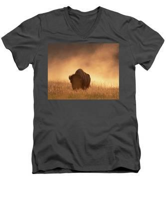 Bison In The Dust 2 Men's V-Neck T-Shirt