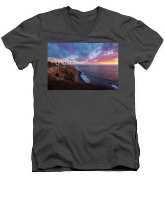 Colorful Sky After Sunset At Point Vicente Lighthouse Men's V-Neck T-Shirt