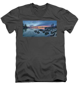 Colorful Sunset At Sand Harbor Panorama Men's V-Neck T-Shirt