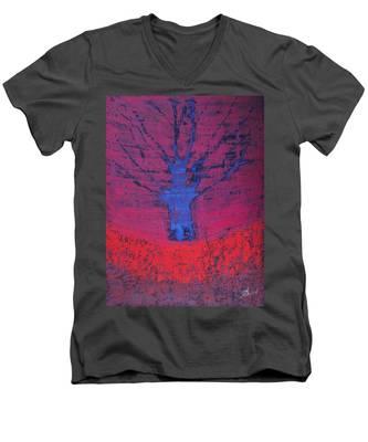 Disappearing Tree Original Painting Men's V-Neck T-Shirt