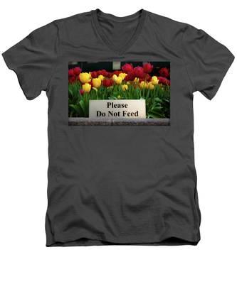Dont Feed The Tulips Men's V-Neck T-Shirt