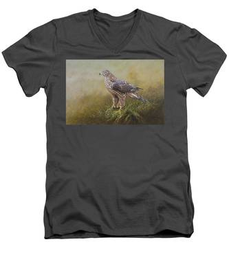 Female Goshawk Paintings Men's V-Neck T-Shirt