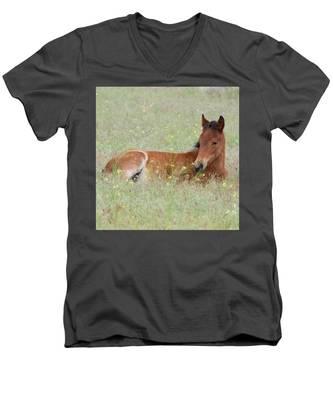Foal In The Flowers Men's V-Neck T-Shirt