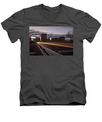 Founders Bridge Hartford Ct Men's V-Neck T-Shirt by Kyle Lee