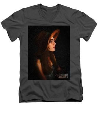 Girl In Hat Men's V-Neck T-Shirt