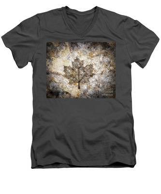 Leaf Imprint Men's V-Neck T-Shirt