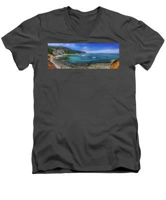 Marine Layer Over Bluff Cove Panorama Men's V-Neck T-Shirt