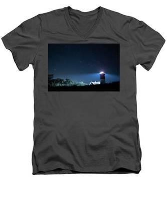 Nauset Light Under The Stars Men's V-Neck T-Shirt by Kyle Lee