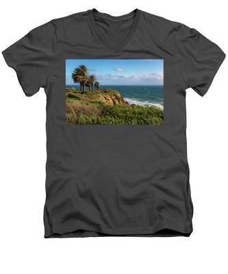 Palm Trees Blowing In The Wind Men's V-Neck T-Shirt