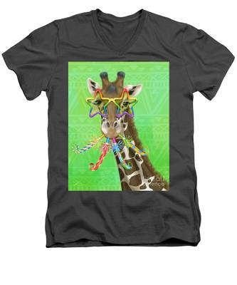 Party Safari Giraffe Men's V-Neck T-Shirt