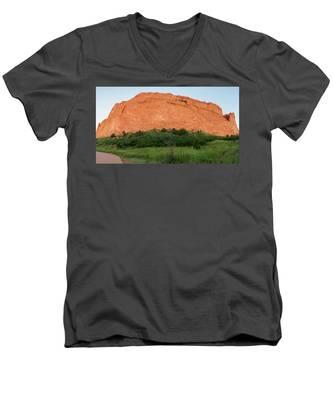 Sandstone Rock Formation Called The Kissing Camels In Colorado Men's V-Neck T-Shirt by Kyle Lee