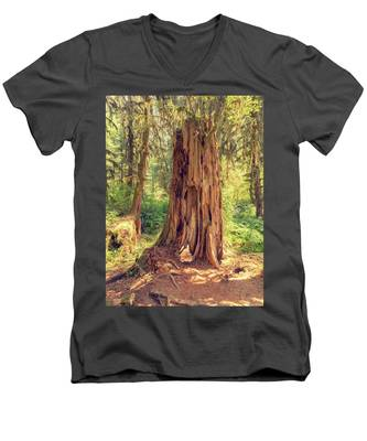 Men's V-Neck T-Shirt featuring the photograph Stump In The Rainforest by Kyle Lee