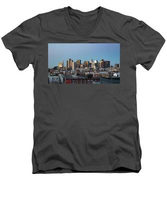 Men's V-Neck T-Shirt featuring the photograph The Skyline Of Boston In Massachusetts, Usa On A Clear Winter Ev by Kyle Lee
