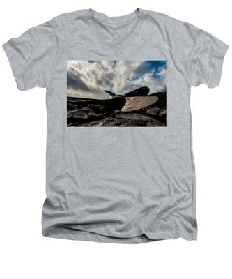 Men's V-Neck T-Shirt featuring the photograph Propeller On The Beach by Joseph Amaral