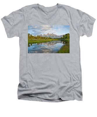 Teton Range Reflected In The Snake River Men's V-Neck T-Shirt