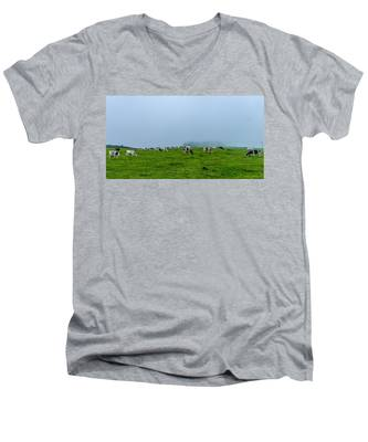 Men's V-Neck T-Shirt featuring the photograph Cows In The Field by Joseph Amaral