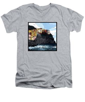 Manarola W/hidden Pictures Men's V-Neck T-Shirt