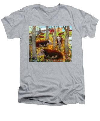 Autumn Cows Men's V-Neck T-Shirt