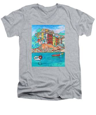 Boats In Front Of The Buildings X Men's V-Neck T-Shirt