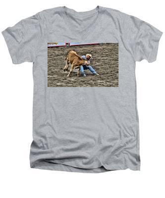 Bull Dogging Men's V-Neck T-Shirt