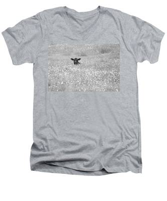 Buttercup In Black-and-white Men's V-Neck T-Shirt