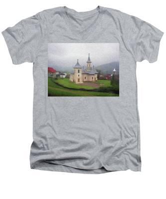 Church In The Mist Men's V-Neck T-Shirt