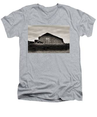 Men's V-Neck T-Shirt featuring the photograph Cow Grazes At Rustic Barn  by Joseph Amaral