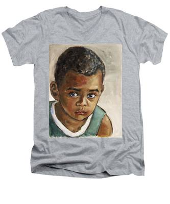 Curious Little Boy Men's V-Neck T-Shirt