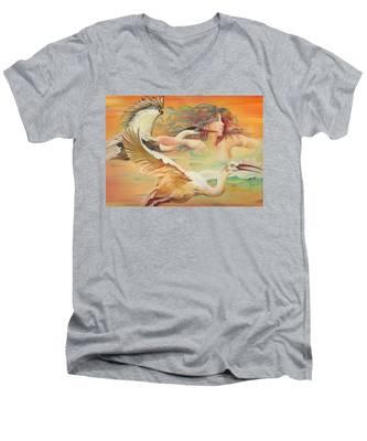 Dancing With Birds Men's V-Neck T-Shirt