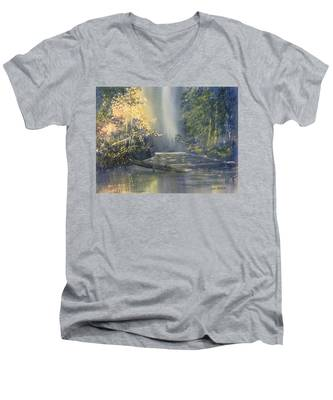 Dawn On The Derwent Men's V-Neck T-Shirt