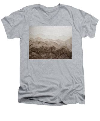 Desert Mountain Mist Original Painting Men's V-Neck T-Shirt
