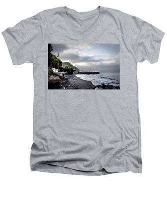 Men's V-Neck T-Shirt featuring the photograph Down By The Sea  by Joseph Amaral