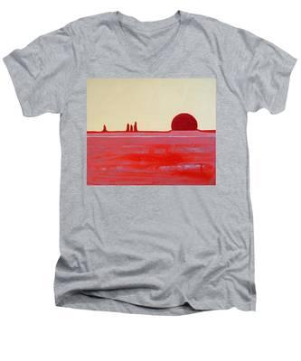 Hoodoo Sunrise Original Painting Men's V-Neck T-Shirt