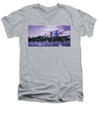 Little Rock Skyline Men's V-Neck T-Shirt