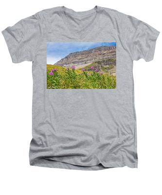 Meadow Of Fireweed Below The Continental Divide Men's V-Neck T-Shirt