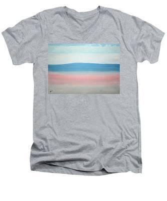 Misty Lake Original Painting Men's V-Neck T-Shirt