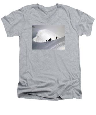 Mountaineers To Conquer Mont Blanc Men's V-Neck T-Shirt