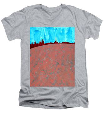 Needles And Dunes Original Painting Men's V-Neck T-Shirt