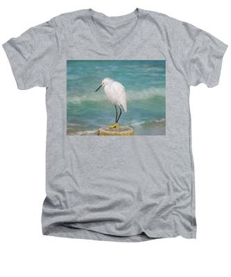 One With Nature - Snowy Egret Men's V-Neck T-Shirt