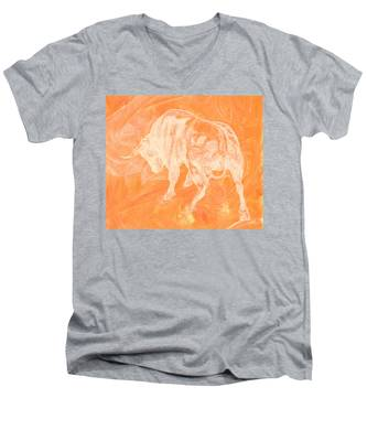 Orange Bull Negative Men's V-Neck T-Shirt