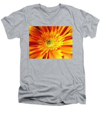 Orange Gerbera Men's V-Neck T-Shirt