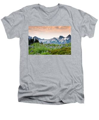 Paradise Meadows And The Tatoosh Range Men's V-Neck T-Shirt