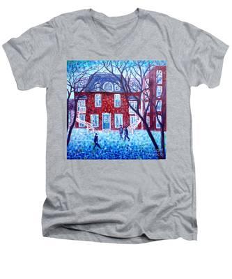 Red House In Montreal - Cityscape Men's V-Neck T-Shirt
