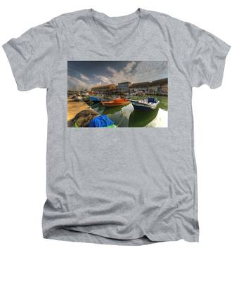 resting boats at the Jaffa port Men's V-Neck T-Shirt